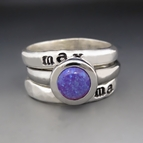 Sterling Silver & Purple Opal Personalized Stacking Ring Set