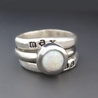 Sterling Silver & White Opal Personalized Stacking Ring Set