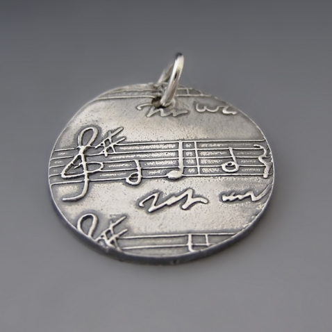 Sterling Silver Sheet Music Pendant