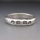 Sterling Silver Personalized Hand Stamped Stacking Ring