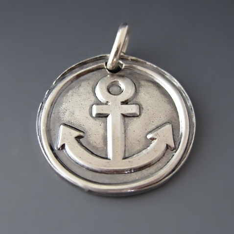 Fine Silver Anchor Charm Pendant {Refuse to Sink}