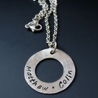 Custom Silver Circle Washer Necklace {Small}