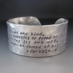 Silver Hand Stamped Corinthians 13 4-6 Bracelet