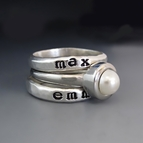Sterling Silver & White Pearl Personalized Stacking Ring Set
