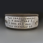 The Road Not Taken Leather Bracelet - Robert Frost