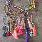 Thin Beaded Bohemian Tassel Bracelets <br> {Set of 3}