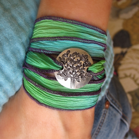 Tree of Life Silk Wrap Bracelet