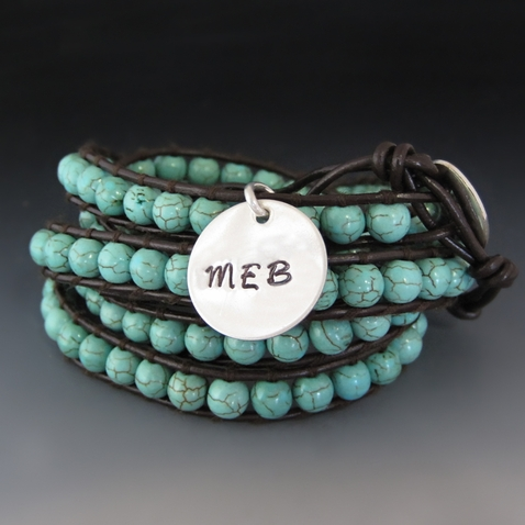 Leather & Turquoise Wrap Bracelet / Personalized Silver Charm