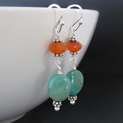 Sterling Silver Turquoise & Carnelian Gemstone Earrings