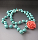 Multi Strand Turquoise Necklace with Coral Flower