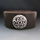 Women's Celtic Cross Leather Cuff Bracelet