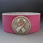 Women's Leather Cuff Bracelet - Awareness Ribbon