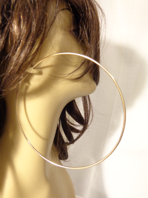 LARGE 4 75 INCH SIMPLE THIN HOOP EARRINGS GOLD TONE