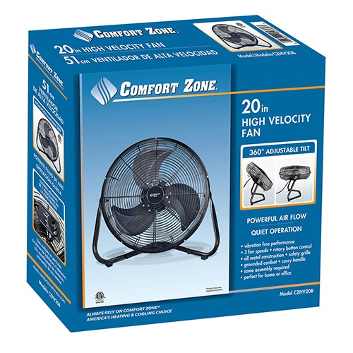 comfort zone 20 inch high velocity cradle fan - High Velocity Fan