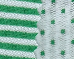 Double Knit Reversible Stripe and Dot Green/White Width 54/55""