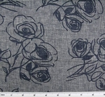 Linea Floral Burn Out Indigo/Navy Width 56""