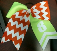 Custom Hair Bows with Chevron Number and Glitter Tip