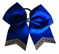 Large Blue Bow with Silver Glitter Tips and Red Holostars