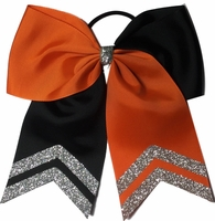 6.5 Black and Orange with Silver Glitter Tips