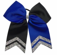 6.5 Inch Blue and Black with Silver Glitter Tips