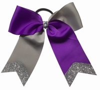 6 Inch Purple and Silver Gray with Glitter Tip
