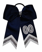 New Number Bow Navy with Silver and White Glitter Tip