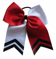 New Red and White Bow with Black Glitter Tips
