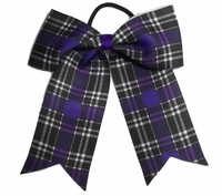 Small 5.5 Inch Purple Black and White Plaid Softball Bow