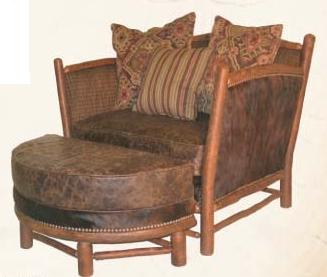 Old Hickory Hill Country Chair with Ottoman