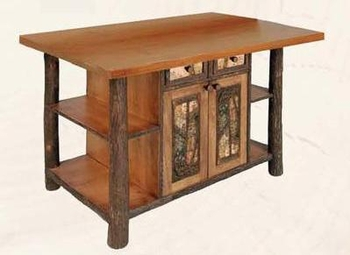Old Hickory Kitchen Island with Northwoods Accents