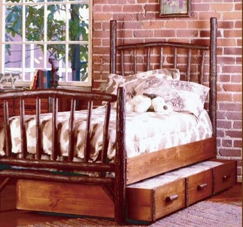 Old Hickory Trundle Bed with Mattress