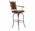 30 Inch Swivel Barstool with Burgundy Leather Back & Leather Seat with Arms