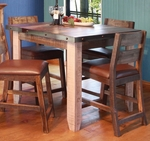 Antique Multicolor Counter Height Dining Table