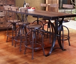 Antique Multicolor Counter Height Dining Table with Iron Base