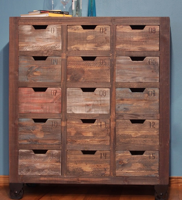 These 6 Pieces Of Colorful Furniture Are Absolute Must Haves: Antique Multicolor Multi-Drawer Console