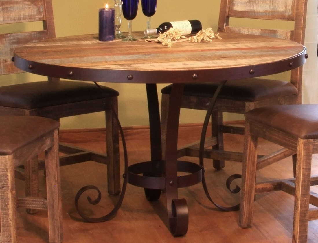antique multicolor round dining table. Black Bedroom Furniture Sets. Home Design Ideas