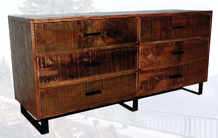 Old Hickory Brookly Reclaimed 6 Drawer Double Dresser