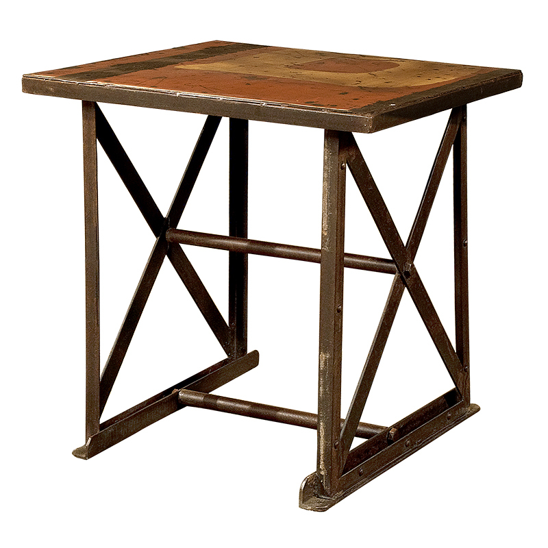 Industrial iron wood end table for Iron and wood side table
