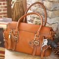 Aged Brown Leather Concealed Carry Satchel