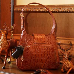 Crocodile Print Leather Concealed Carry Hobo