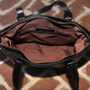 Smooth Black Leather Concealed Carry Tote