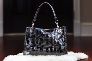 Urban Moxy Deanna Black Crocodile Concealed Carry Purse
