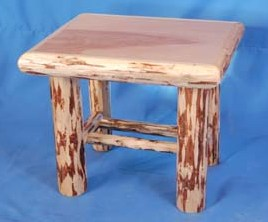Log Edged Birch Top End Table 28""