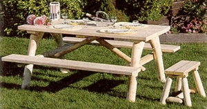 Log Picnic Table with Attached Benches