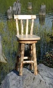 Swivel Log Stool with Back