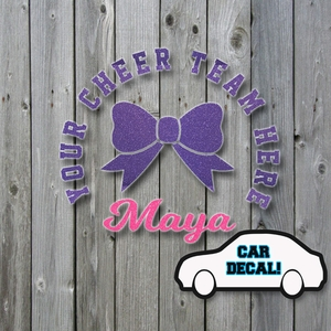 Car Decal Cheer Bow