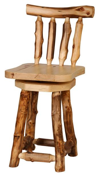 24 Inch Height Swiveling Aspen Barstool With Back Lodge Craft