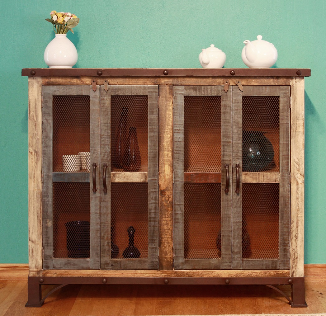 Antique Multicolor 4-Door Console
