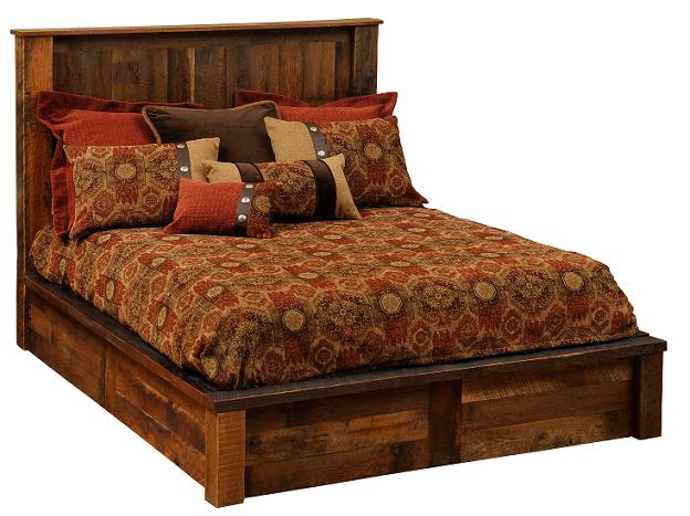 Barnwood Faux Copper Platform Bed