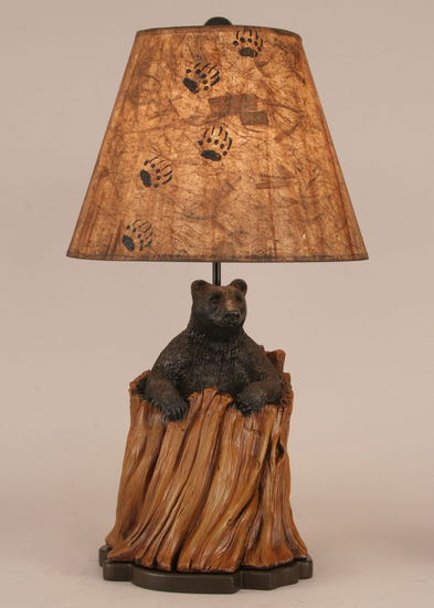Bear In Stump Table Lamp Rustic Cabin Lighting Lodge Craft